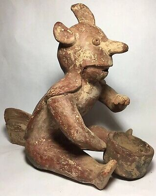 Anthropomorphic Avian Shaman Statue Pre-Columbian Colima Terracotta Red Pottery