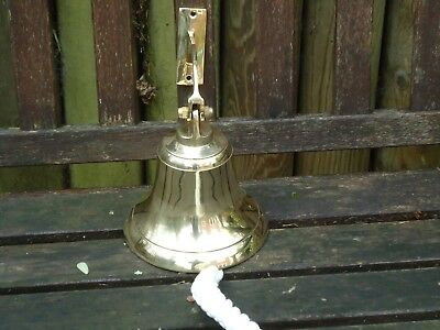 Large Ships Brass Bell with Rope 1 K in weight Nautical Bar Pub A Nice Gift