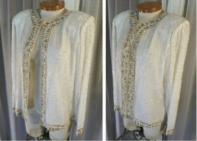 XL White 100% Silk Gold Beaded Lady Jacket Woman Top Blouse 14 16 Long Sleeve
