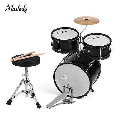 Muslady Kids 3-Piece Drum Set Drums Kit+Cymbal Drumsticks Adjustable Stool W9E0
