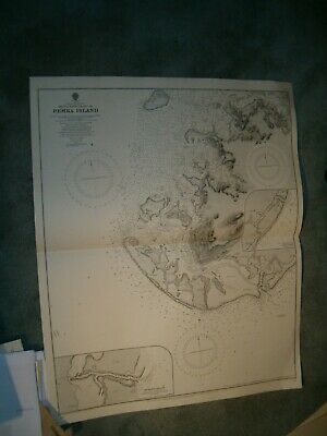 Vintage Admiralty Chart 1310 AFRICA - SOUTHWEST COAST OF PEMBA ISLAND 1891 edn