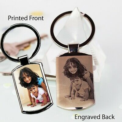 Personalised Metal Keyring Photo Printed,Photo Engraved Xmas Gift ,Dad,mum,Grand