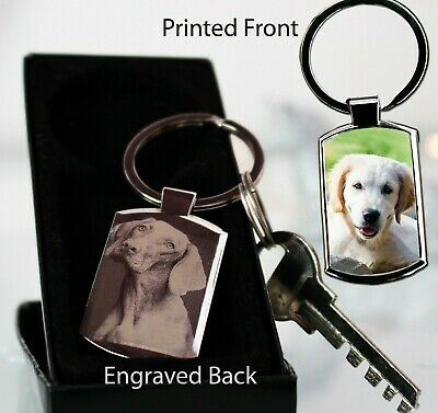 Personalised Metal Keyring Photo Printed,Photo Engraved Pet Dog Memorial Xmas