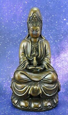 Chinese Vintage Bronze Brass Buddha Signed on the bottom 8 ½' tall(BI#MK/191117)