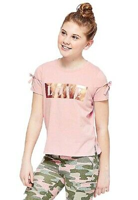 NEW NWT Justice Size 6/7 Girls Love Foil Slit Tie Short Sleeve Tee Shirt Top