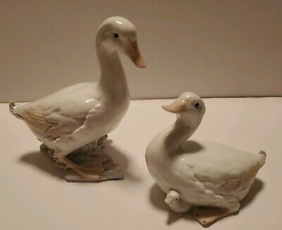 Fine Porcelain Pair Of Duck Figures George Good Com.  Male & Female With Baby