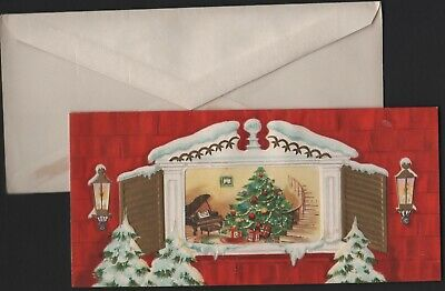 Unused vtg Greeting MERRY CHRISTMAS Card Our House Window Tree in Living room