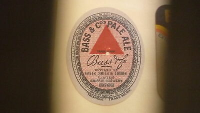 Old British Beer Label, Fuller Smith & Turner Chiswick England, Bass Pale Ale