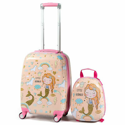 "18'' Carry On Suitcase & 12"" Backpack Mermaid 2PC Kids Luggage Set CHristmas"