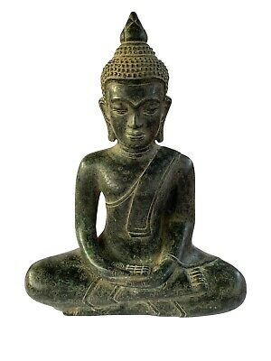 Buddha - Antique Khmer Style Bronze Seated Meditation Buddha Statue - 24cm/10""