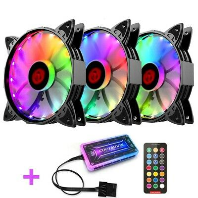 120mm 3PCS RGB LED Quiet Computer Case PC Cooling Fan with 1 Remote Control