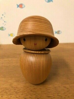 Japanese traditional crafts Yakusugi Kokeshi Hat kokeshi unused With box