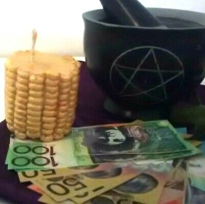 """Wicca """"ABUNDANCE AT HOME OR BUSINESS """" Corn Candle SPELL KIT EASY SPELL"""
