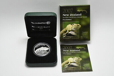 2007 New Zealand - Tuatara - $5 Silver Frosted Proof Coin