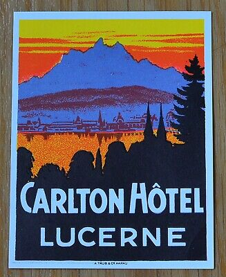 Carlton Hotel Old Luggage Label Lucerne Art Deco Swiss Vintage Suitcase Unused