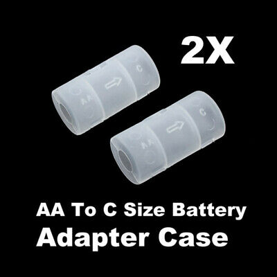 2 Pcs/Set AA To C Size Cell Battery Holder Converter Adapter Adaptor Case Tool