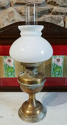Antique Veritas Oil Paraffin Lamp Opaline Glass Shade - Fully Working