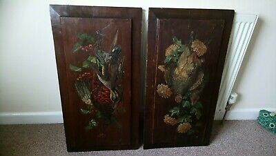 Pair Of Handpainted Oak Panels, Antique Kitchen, Birds, Game, Cooking