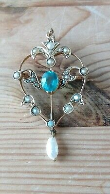Antique Art Nouveau, Edwardian Pendant/ brooch 9ct Gold Topaz And Seed Pearl