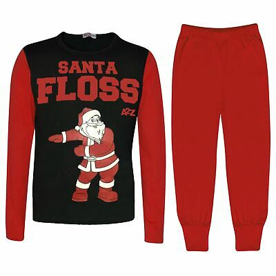Kids Girls Boys Pyjamas Trendy Santa Floss Red Christmas Loungewear Pjs Outfits