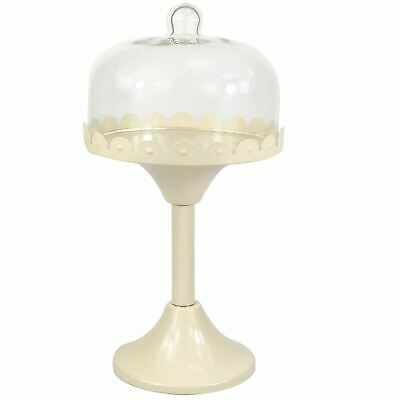 Metal Cupcake Muffin Display Stand Cake Plate Holder Rack Glass Dome Lid Cover