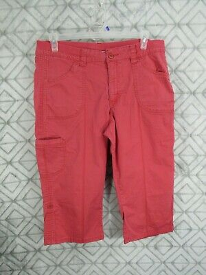 Riders By Lee Capris Size 18 M Red Mid Rise Skimmer Elastic on Waistband Pockets