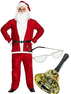 UK Santa Claus Suit Adult Christmas Costume Fancy Dress Deluxe Full Set