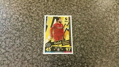Match Attax Extra 2018/19 Le12G Mohamed Salah🌟Gold🌟Limited Edition Mint