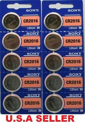 10 x FRESH NEW** SONY CR2016 DL2016 BR2016 Lithium Coin Cell Battery 3V Exp 2029