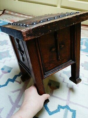 Antique Small Oak Stool gothic rustic leather top