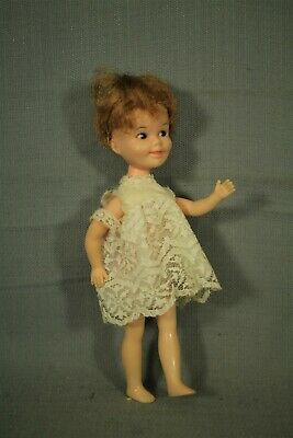 "Penny Brite vintage 8 1/2"" doll white lace dress deluxe reading corp"