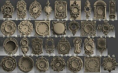 31 Pcs 3D STL Model WALL CLOCKS PATTERN for CNC Engraver Carving Artcam Aspire