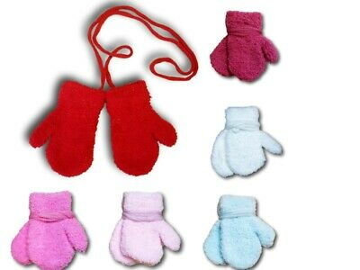 Baby Girl Toddler Winter Fluffy Mittens With String Plain Gloves Size 0-24 Month