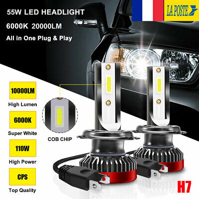 Paire 55W H7 20000LM Voiture LED Ampoules Phare Feux Lampe Kit 6000K Xenon Blanc