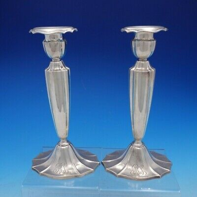 """Plymouth by Gorham Weighted Sterling Silver 9 1/2"""" Pair of Candlesticks (#4423)"""