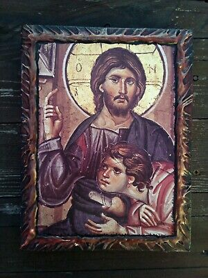 Jesus Christ Pantocrator Blessing  HANDMADE Byzantine Greek Orthodox  wood icon