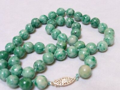 CHINESE Apple GREEN JADE 9mm BEAD NECKLACE, SILVER CLASP