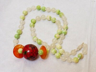 Chinese Vintage White and Apple Green Jade Beads Necklace, Sterling Silver Clasp