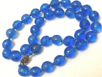 Chinese Vintage Blue Carved Peking Glass Beads Necklace, Silver Clasp