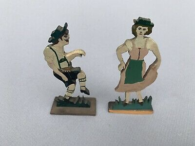 Vintage Wood Carved Folk Art Standing German Couple Figurines Hand Painted