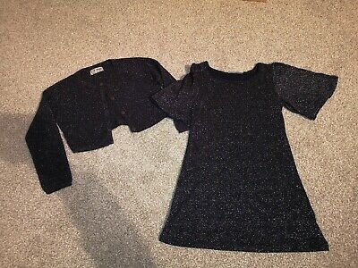Girls Next Black Sparkly Party Dress & Cardigan Age 3 party /christmas