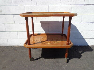 Tea Cart Vintage Italian Marquetry Bar Inlay Colorful Console Wine Rack Server