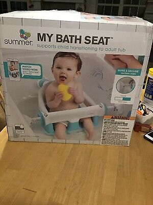 Summer - My Bath Seat - Supports Child Transitioning To Adult Tub - White-Aqua
