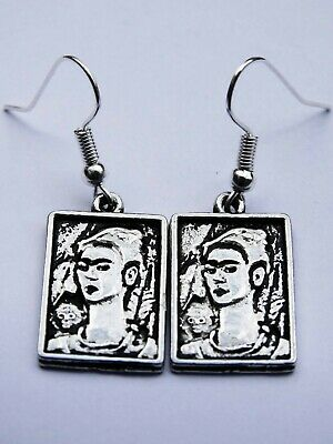 Genuine Pewter Frida Kahlo Earrings! Dia De Los Muertos Art Boho Festival Silver