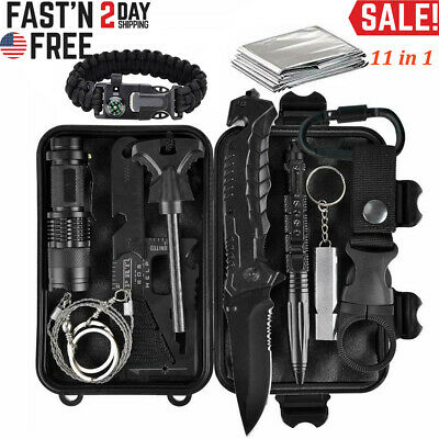 12pcs Outdoor Emergency Survival Kit EDC Tools Military Camping Disaster Zombie