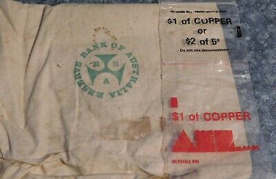 Vintage RESERVE BANK OF AUSTRALIA Calco Coin Bag + 2 Plastic Copper Coin Bags