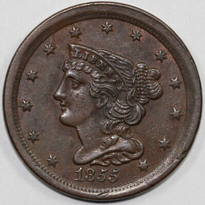 1855 1/2c Braided Hair Half Cent UNSLABBED