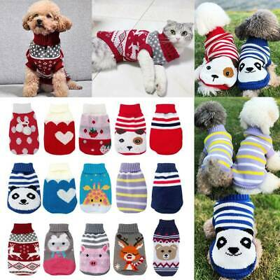 Puppy Pet Cat Dog Sweater Jacket Knitted Coat Small Dogs Winter Warm Clothes AU