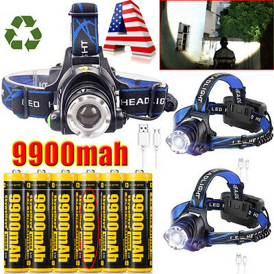 US 350000LM T6 LED Zoomable Headlamp USB Rechargeable 18650 Headlight Head Light