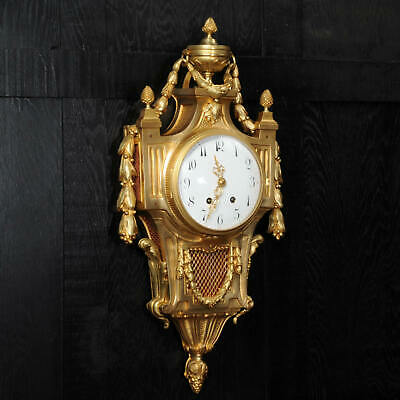 Large Louis XVI Gilt Bronze Antique French Cartel Wall Clock - Superb